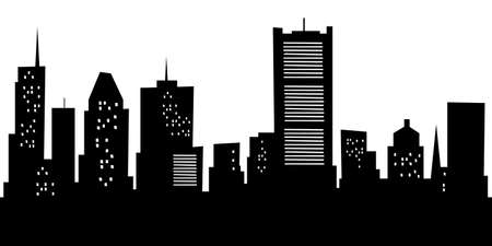 Cartoon skyline silhouette of the city of Montreal, Quebec, Canada.
