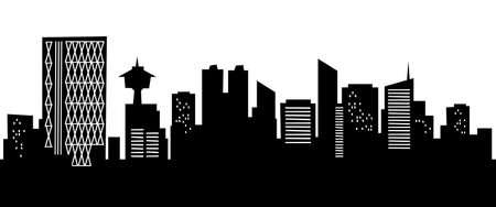 漫画のカルガリー、アルバータ州、カナダの都市のスカイライン シルエット。 写真素材 - 15385689