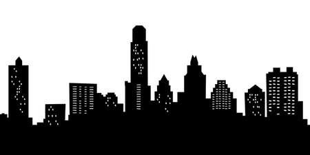 Cartoon skyline silhouette of the city of Austin, Texas, USA.
