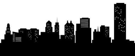 漫画のバッファロー、ニューヨーク、アメリカ合衆国の都市のスカイライン シルエット。 写真素材