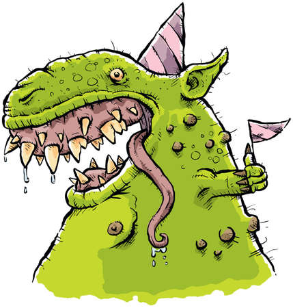 wart: A cartoon monster in a party hat and waving a flag.