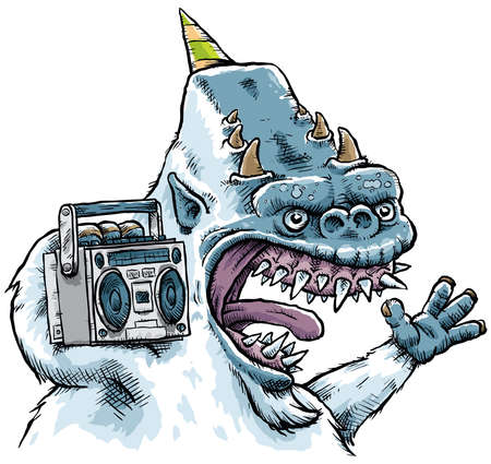boom box: A cartoon monster plays music on a boom box. Stock Photo