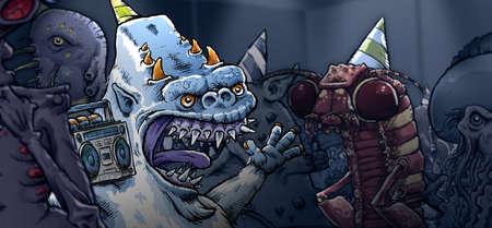 socializando: Un yeti dibujos animados escucha la m�sica en una fiesta monstruo divertido. Foto de archivo