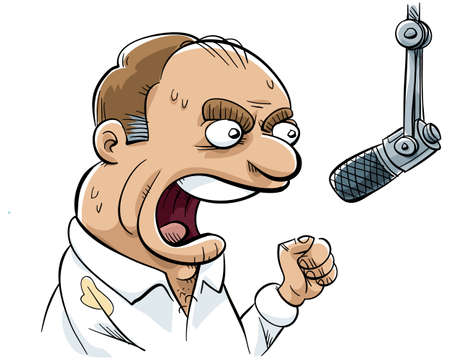 An angry talk radio DJ rants into his microphone  photo