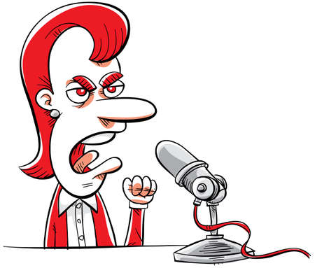 An angry, cartoon talk radio DJ complains to her microphone