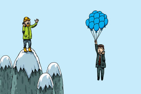 cellphone: A cartoon climber has a phone conversation with a yuppie hanging from some balloons.