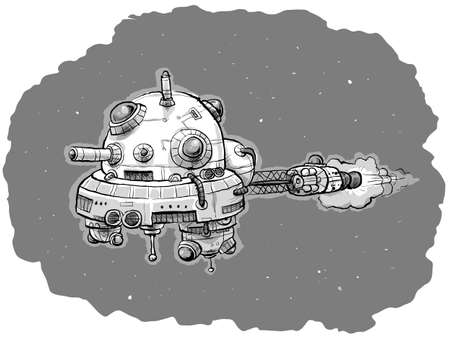 A cartoon spaceship travelling through outer space.