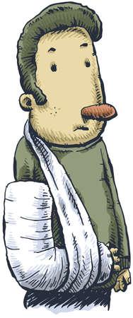 A cartoon man with a cast on his arm. Stok Fotoğraf