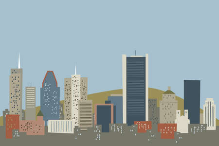 financial district: Cartoon skyline of the city of Montreal, Quebec, Canada. Stock Photo