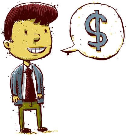 A cartoon man with dollar sign inside a speech bubble.  Stock Photo - 16894958