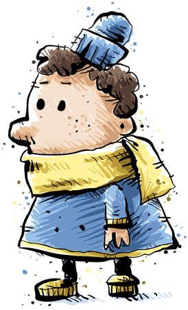 Een klein kind gekleed voor de winter in een jas en sjaal.