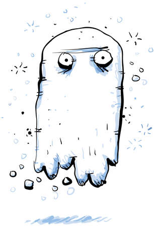 A cartoon ghost, hovering above the ground.