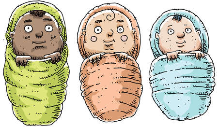 swaddled: Three cartoon babies, swaddled in blankets. Stock Photo