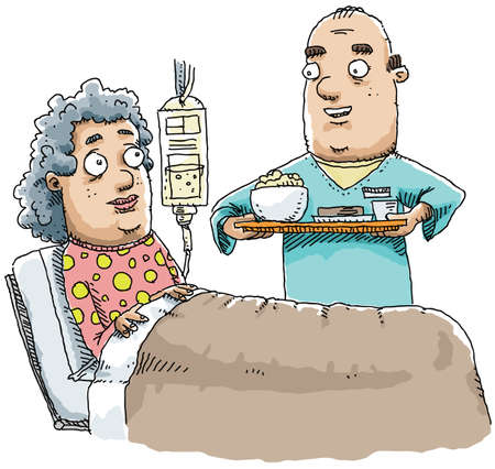 hospital gown: A hospital worker delivers a meal to a patient.