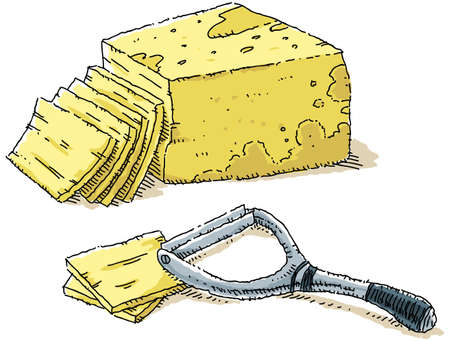 A cartoon of sliced cheese and a cheese slicer. Stok Fotoğraf