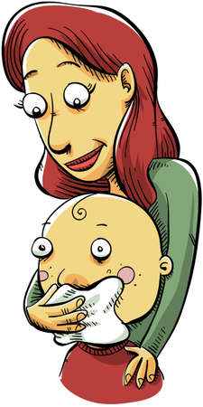 baby and mother: A cartoon mother wipes her toddler s nose
