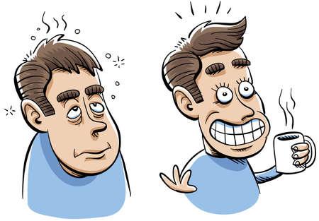 Een cartoon van een man voor en na het hebben van zijn kop koffie Stockfoto