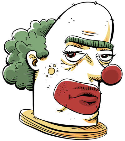 bald ugly: A cartoon of a serious, unfriendly clown.