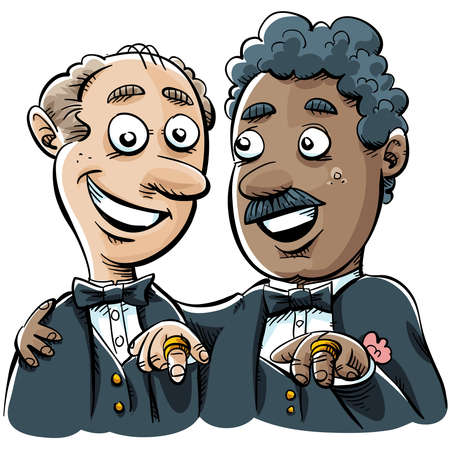 A cartoon of a married gay couple showing off their wedding rings. photo