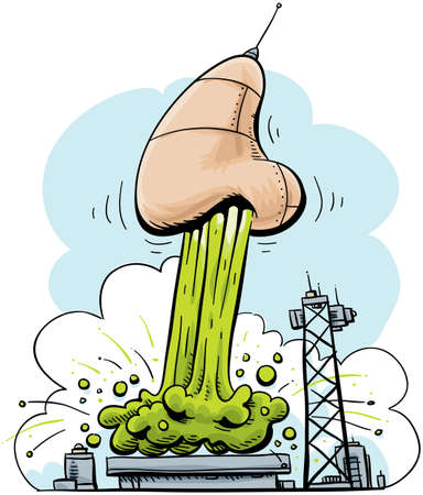 nose cartoon: A nose blasts off, propelled by pillars of snot.