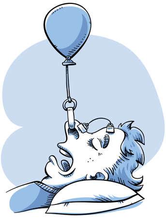 Een vrouw rigs een ballon apparaat om haar te helpen stoppen met snurken.