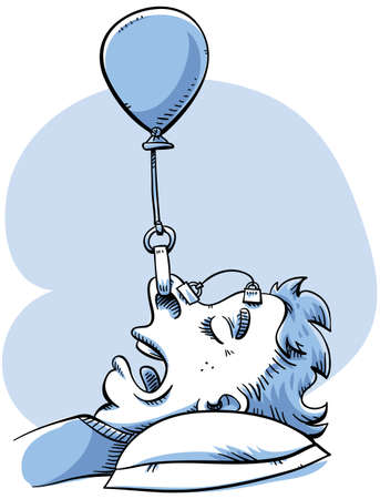 A woman rigs a balloon device to help her stop snoring.