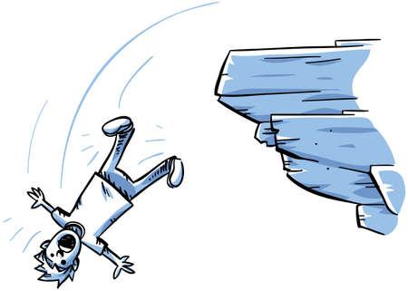 A cartoon man falling off of a rocky cliff.