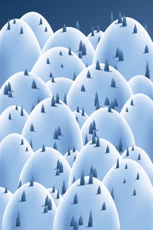 Cartoon backdrop of winter hill landscape.