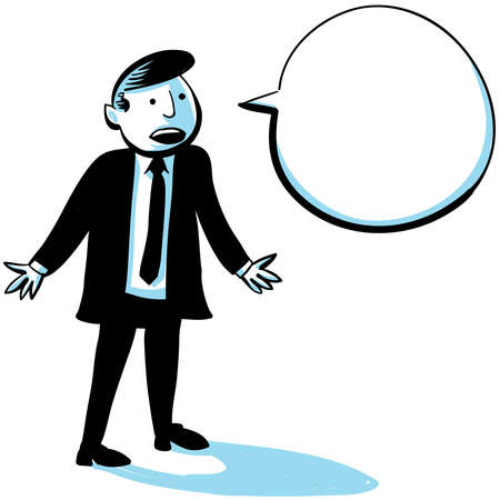 A cartoon businessman speaking with a speech bubble. Stock Photo - 17097735