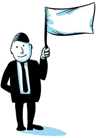 A cartoon businessman holds up a flag. Stock Photo - 17097739