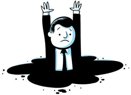 Een cartoon zakenman die wordt gevangen en zinken.