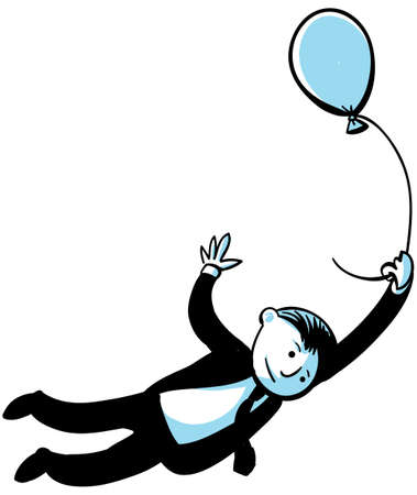 A businessman flies away, carried by a balloon. Stock Photo - 17097729