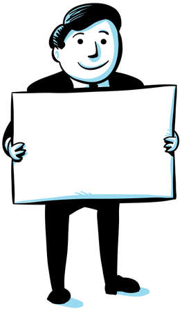 holding blank sign: A cartoon businessman holding a blank sign  Stock Photo