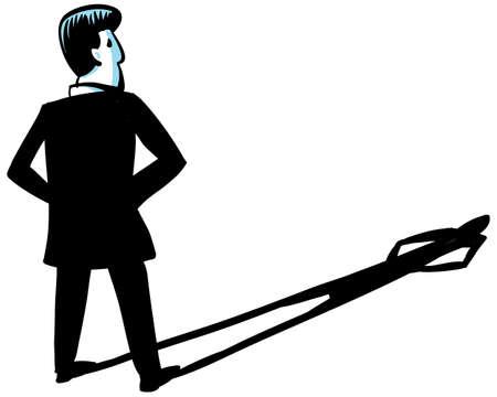 arrogancia: Un hombre de negocios de dibujos animados proyecta una sombra alargada Foto de archivo