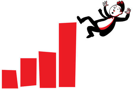 A cartoon businessman falls from the top of a rising graph  Фото со стока
