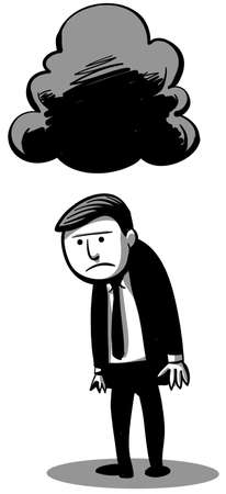gloomy: A businessman stands under the shadow of a gloomy cloud