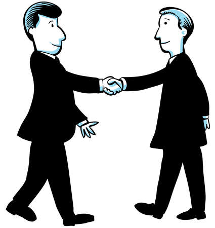 Two cartoon businessmen shake hands  Imagens