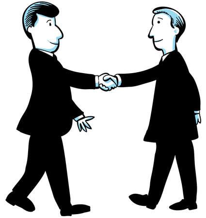Two cartoon businessmen shake hands Stock Photo - 17097749