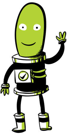 A friendly, green, cartoon Martian waves hello