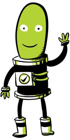 martian: A friendly, green, cartoon Martian waves hello