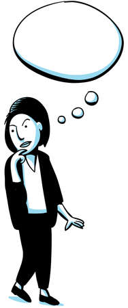 A cartoon woman thinking with a blank thought bubble