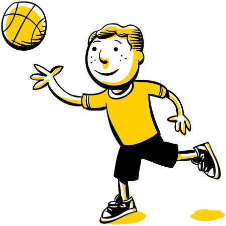 A cartoon boy plays with a ball