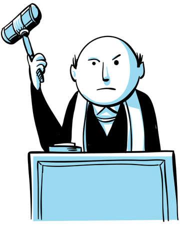 A cartoon judge prepares to slam down his gavel  Stok Fotoğraf
