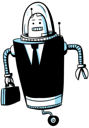 computerized: A cartoon robot dressed up as a businessman