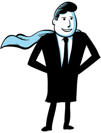 A businessman superhero with hands on his hips and standing proud