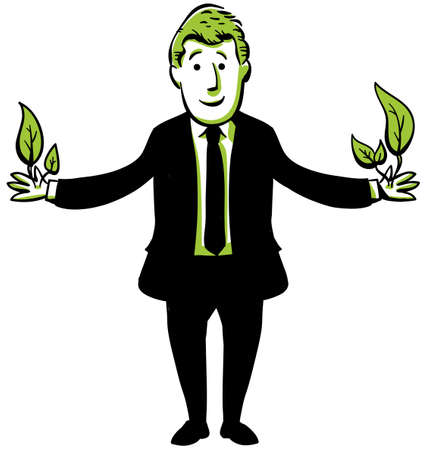 An environmentally-friendly businessman sprouts leaves Stock Photo - 17173353
