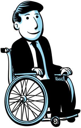 彼の車椅子の漫画ビジネスマン。
