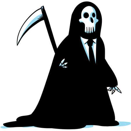 guadaña: El ángel de la muerte como un hombre de negocios de dibujos animados.