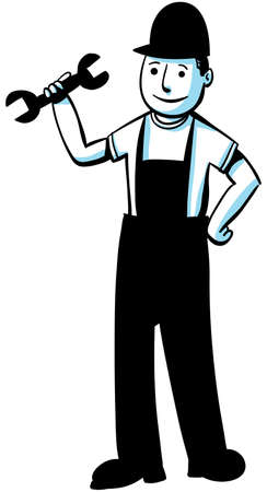 A cartoon worker holding a wrench. photo