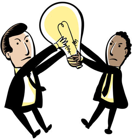 intellectual property: Two cartoon businessmen struggle over a lightbulb  Stock Photo